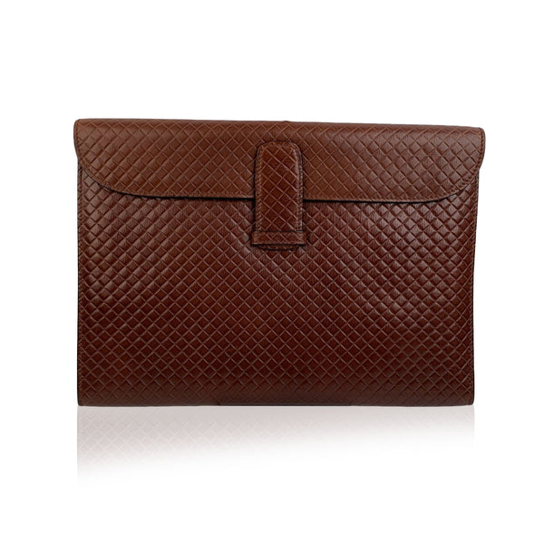 Bottega Veneta Vintage Brown Embossed Portfolio Work Bag