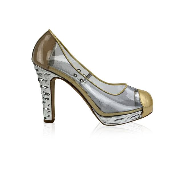 Chanel Clear Vinyl Golden Cap Toe Silver Heels Platform Pumps Size 38