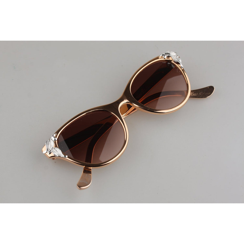 Vintage 1950s Alluminium Rose Gold Cat-Eye Sunglasses 125mm Wide