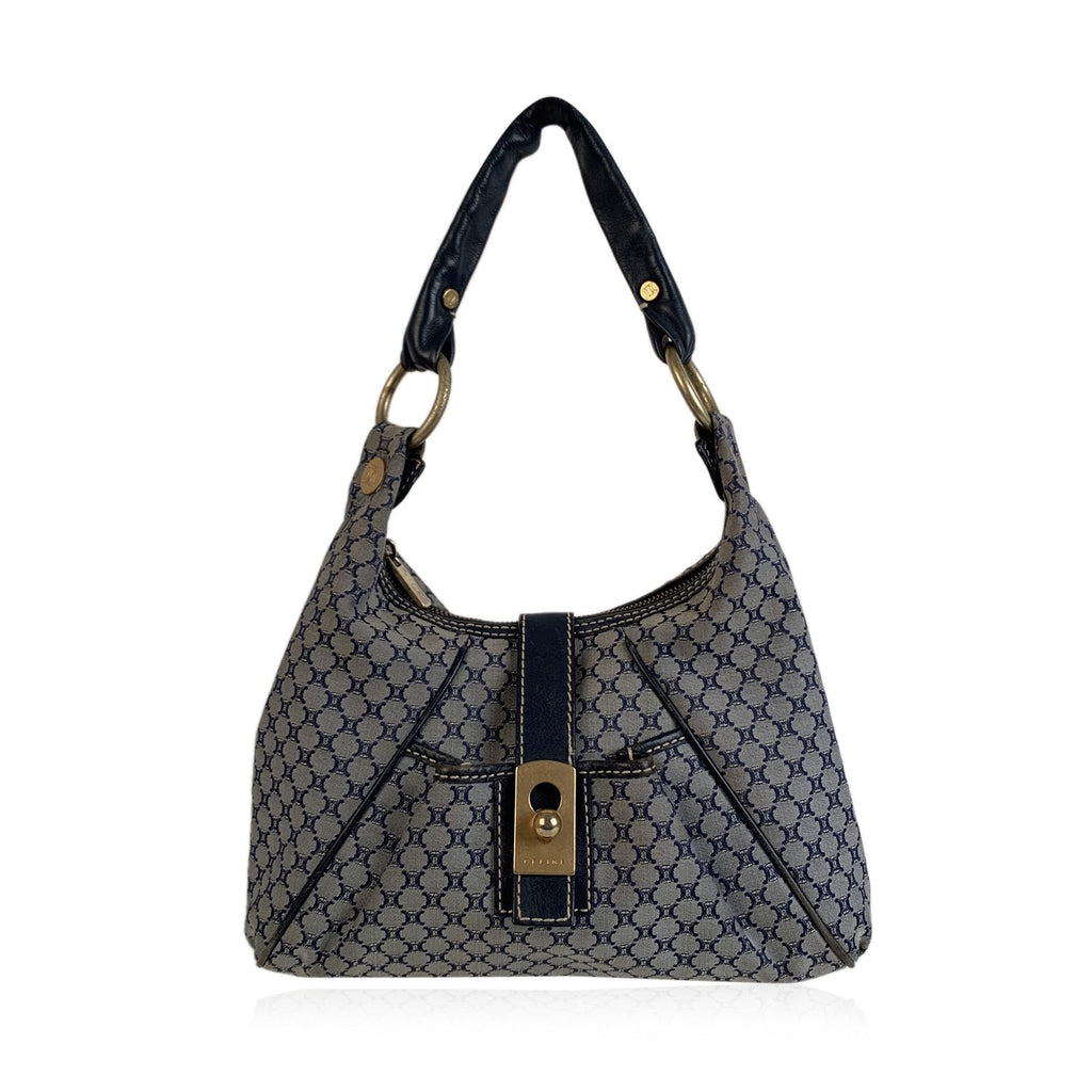 Celine Blue Macadam Canvas Hobo Shoulder Bag