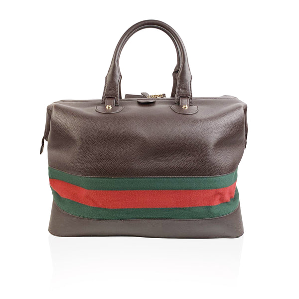 Gucci Brown Leather Travel Weekender Travel with Stripes