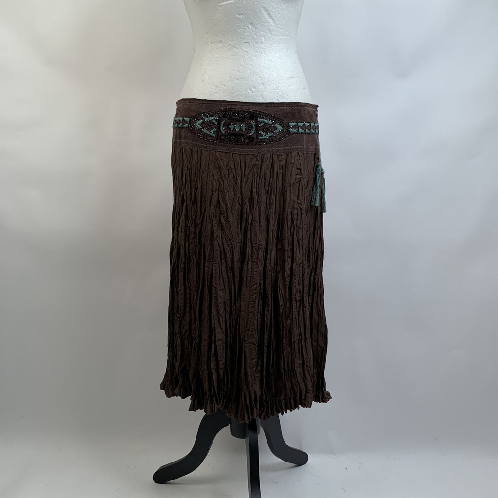 Class Roberto Cavalli Vintage Brown Silk Skirt with Beads Size 42 - OPHERTY & CIOCCI