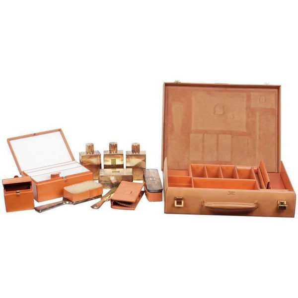 Hermes Vintage Tan Leather Travel Grooming Set Silver Toiletry Pieces