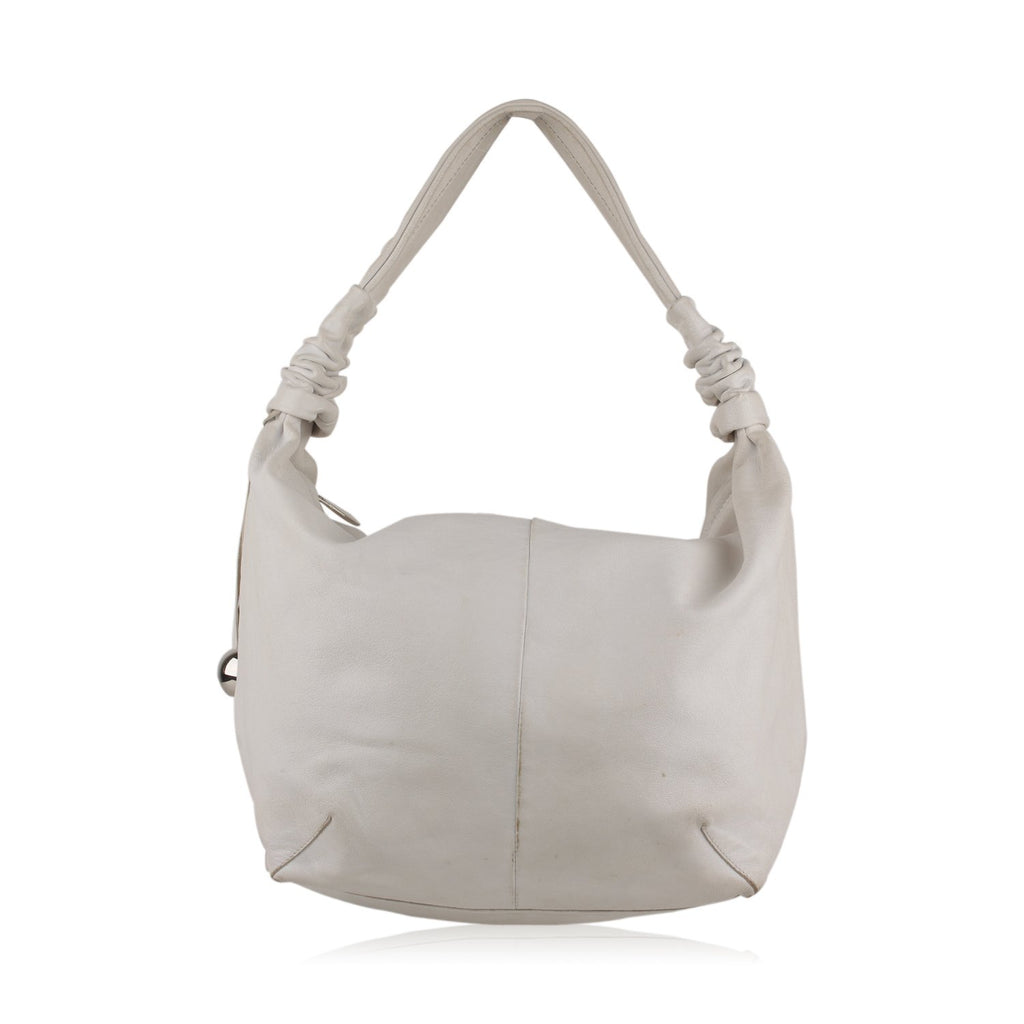 Furla White Leather Hobo Shoulder Bag Tote - OPHERTY & CIOCCI