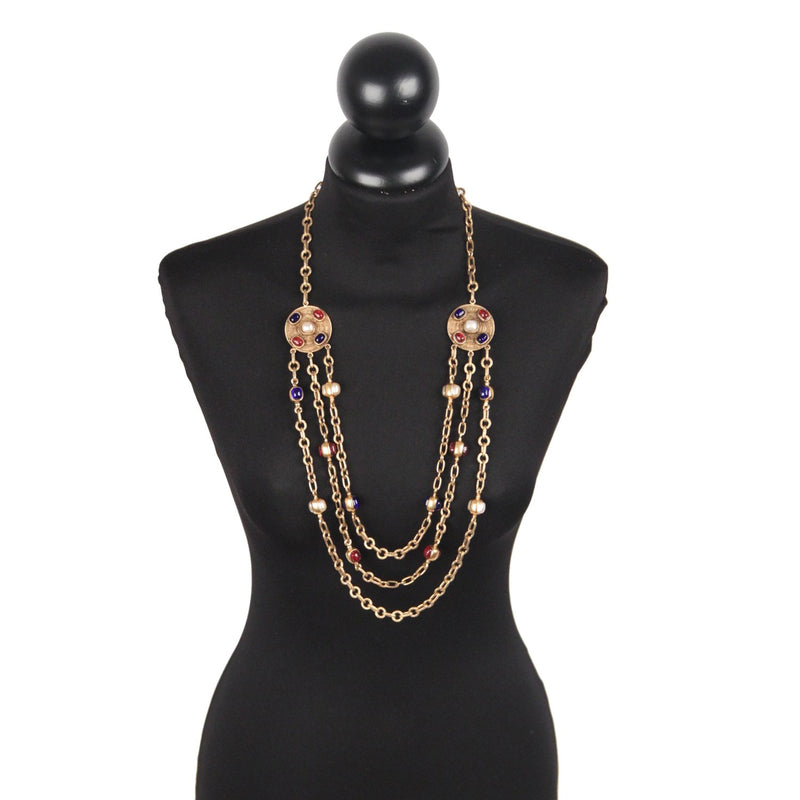 Chanel Triple Row Necklace with Cabochons