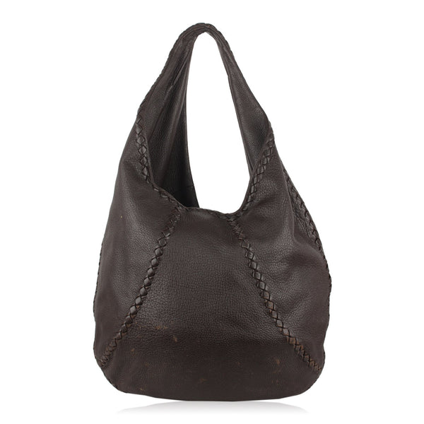 Bottega Veneta Brown Leather Baseball Hobo Shoulder Bag