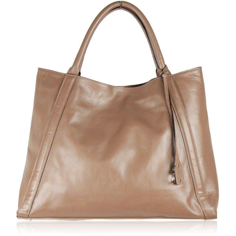 Abro Taupe Leather Tote Handbag Opherty & Ciocci