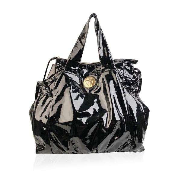 Gucci Black Patent Leather Hysteria Large Tote Shopping Bag