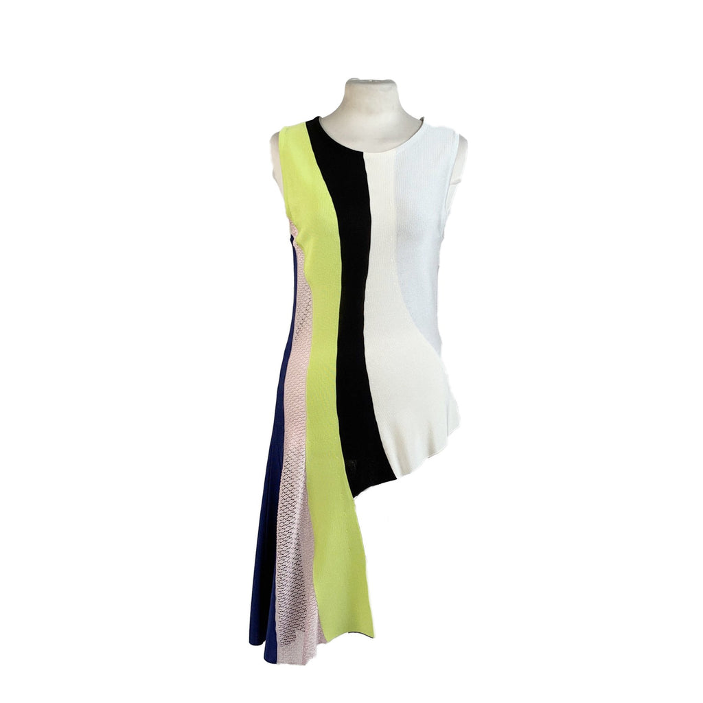 Christian Dior Light Weight Knit Color Block Asymmetric Top Size S