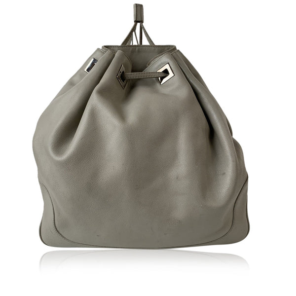 Gucci Light Gray Leather Drawstring Bucket Backpack Bag