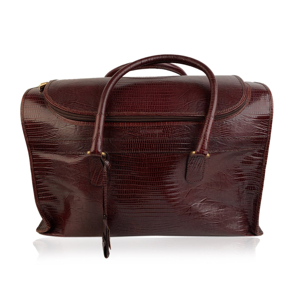 Giorgio Armani Vintage Burgundy Leather Travel Carry On Beauty Bag