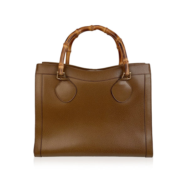 Gucci Vintage Tan Leather Princess Diana Bamboo Tote
