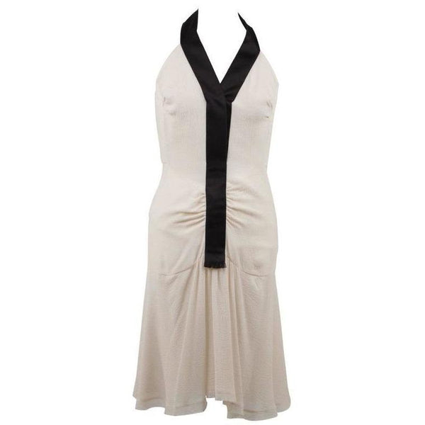 Chanel White and Black Silky Halterneck Dress Skater Style - OPHERTY & CIOCCI