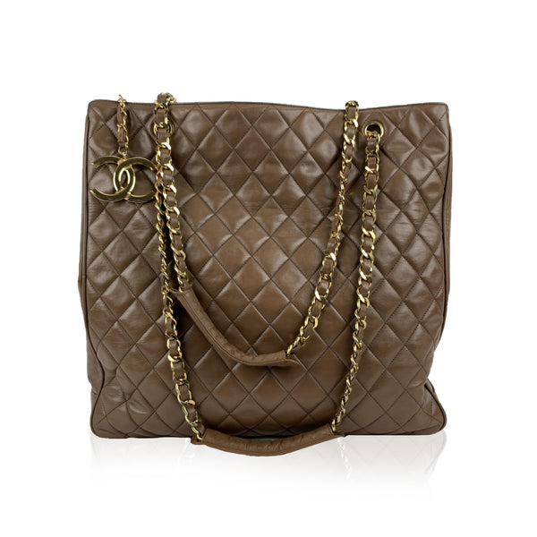 Chanel Vintage Brown Quilted Leather Tote Shoulder Shopping Bag