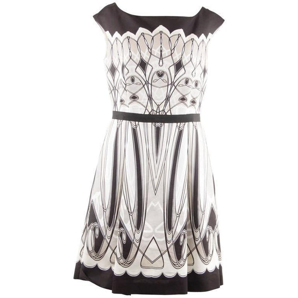 Blumarine Black White Beige Art Deco Print Fit & Flare Small Dress