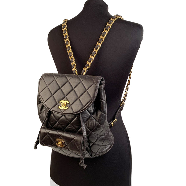 Chanel Vintage Black Quilted Leather Small Backpack Shoulder Bag