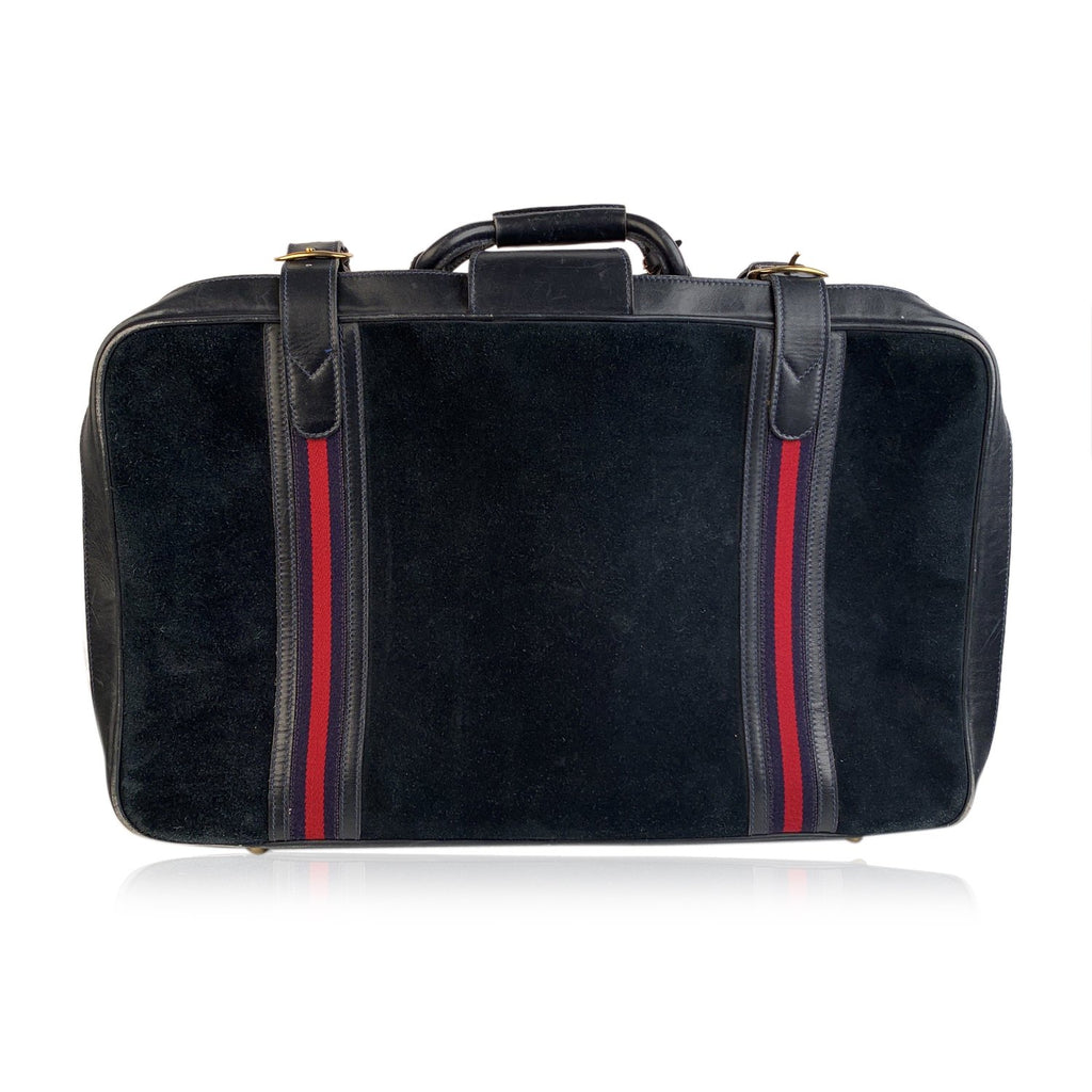 Gucci Vintage Blue Suede Medium Suitcase Travel Bag Stripes - OPHERTY & CIOCCI
