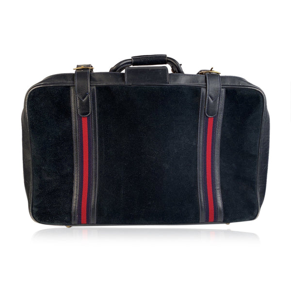 Gucci Vintage Blue Suede Medium Suitcase Travel Bag Stripes