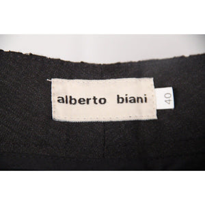 Alberto Biani Dark Gray Wool Trousers Pants W/ Lace Trim Size 40 Opherty & Ciocci