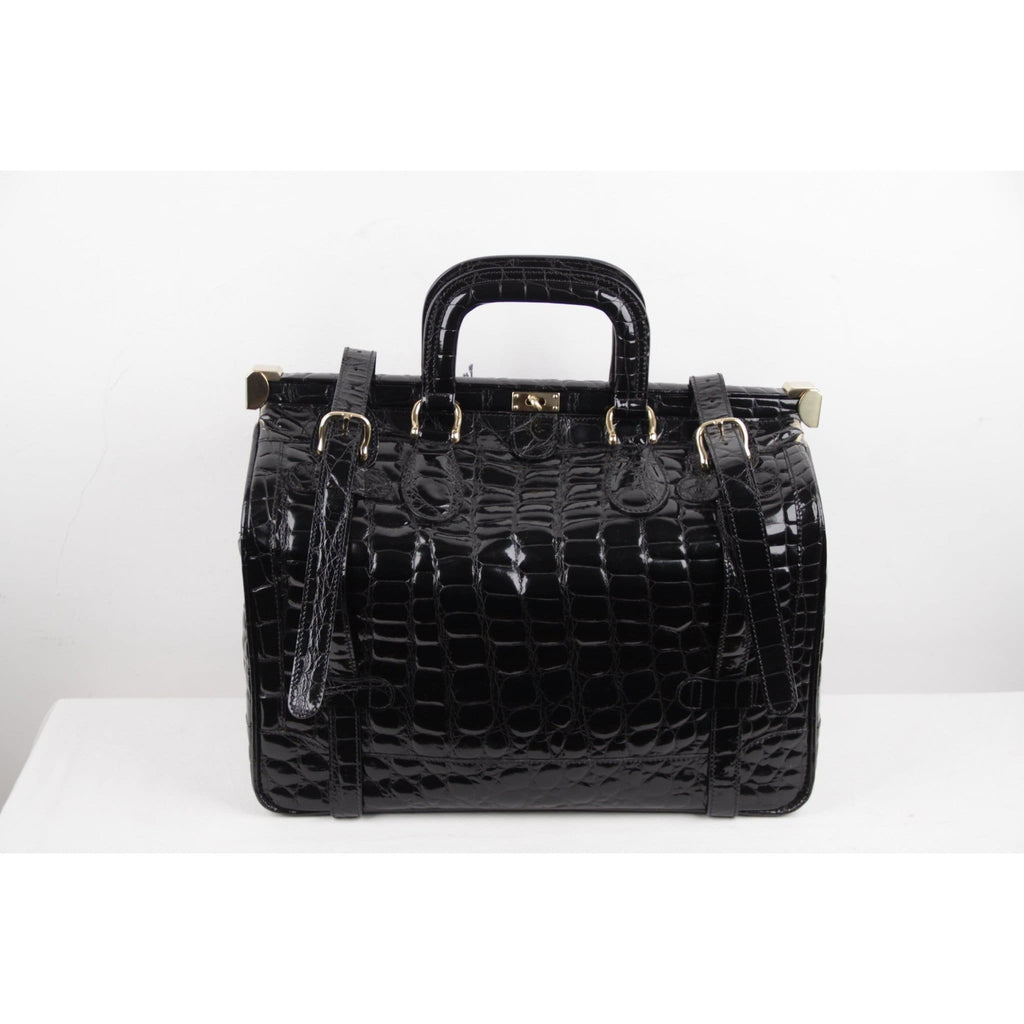 Aldo Raffa Black Embossed Patent Leather Travel Bag Carry On Suitcase Opherty & Ciocci
