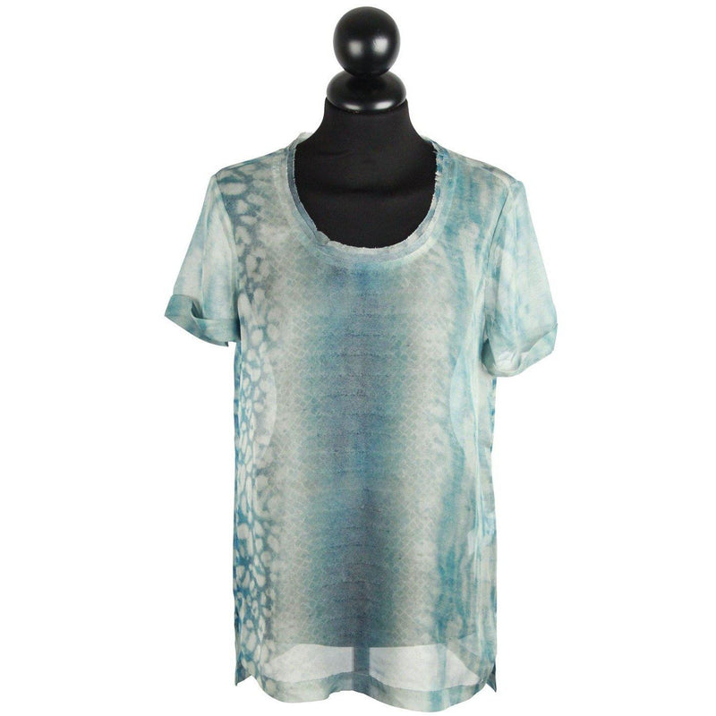 Allsaints Light Blue Printed Silky T Shirt Size 4 Opherty & Ciocci