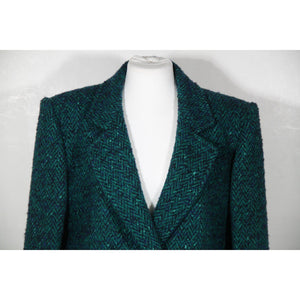 Andrea Odicini Vintage Green Tweed Suit Coat & Skirt Set Sz 40 It Opherty Ciocci