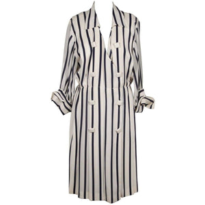 Andrea Odicini Vintage White & Navy Striped Shirt Dress Sz 46 Opherty Ciocci