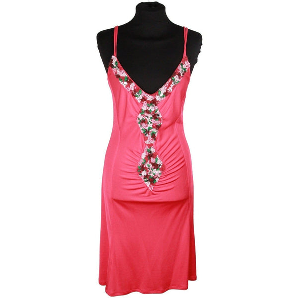 Angelo Marani Hot Pink Embellished Cami Dress W/ Beading Size 48 Opherty & Ciocci