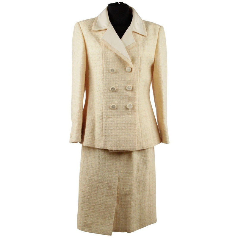 Anna Molinari Yellow Wool Blend Suit Blazer Jacket & Skirt Size 42 Opherty Ciocci