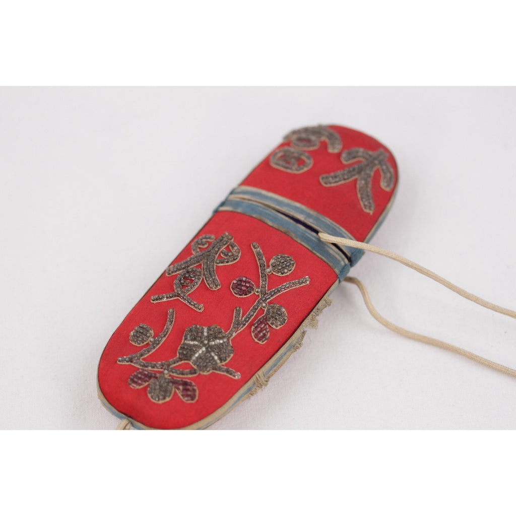 ANTIQUE CHINESE Embroidered Silk GLASSES CASE 19th Century POUCH