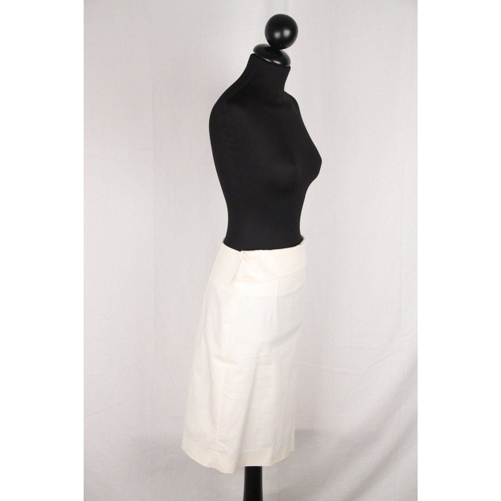 Antonio Berardi White Cotton Pencil Skirt Size 40 Opherty & Ciocci
