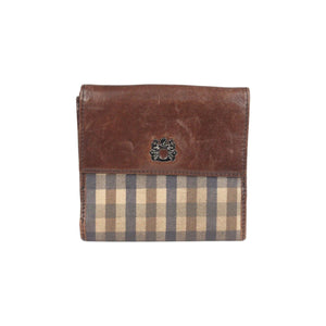 Checkered Canvas And Brown Leather Wallet Opherty & Ciocci