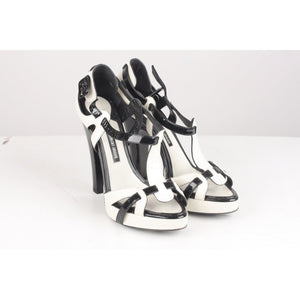 Black And White Leather Heeled Sandals Pumps Opherty & Ciocci