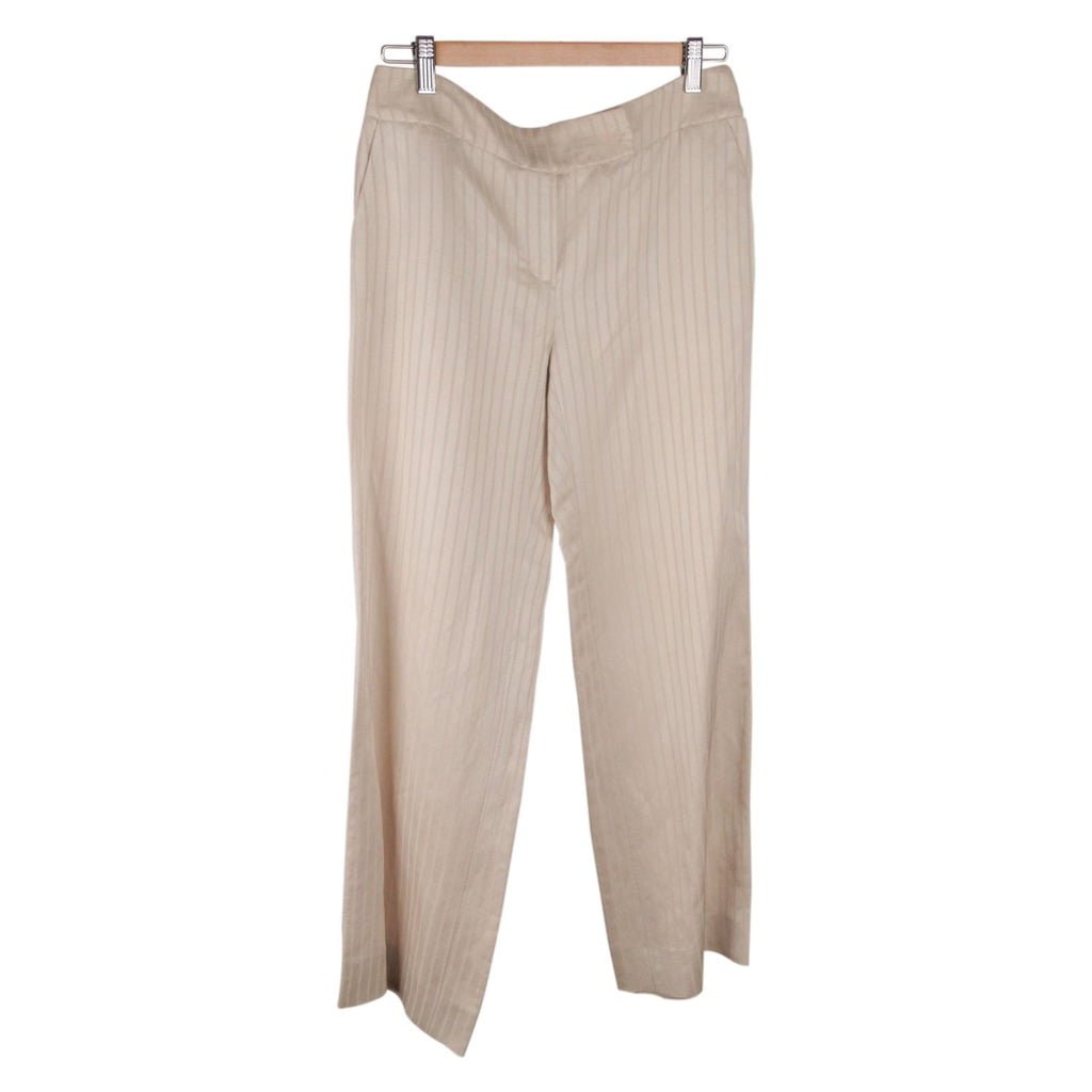 ARMANI COLLEZIONI Beige Striped Wide Leg PANTS Trousers SIZE 40