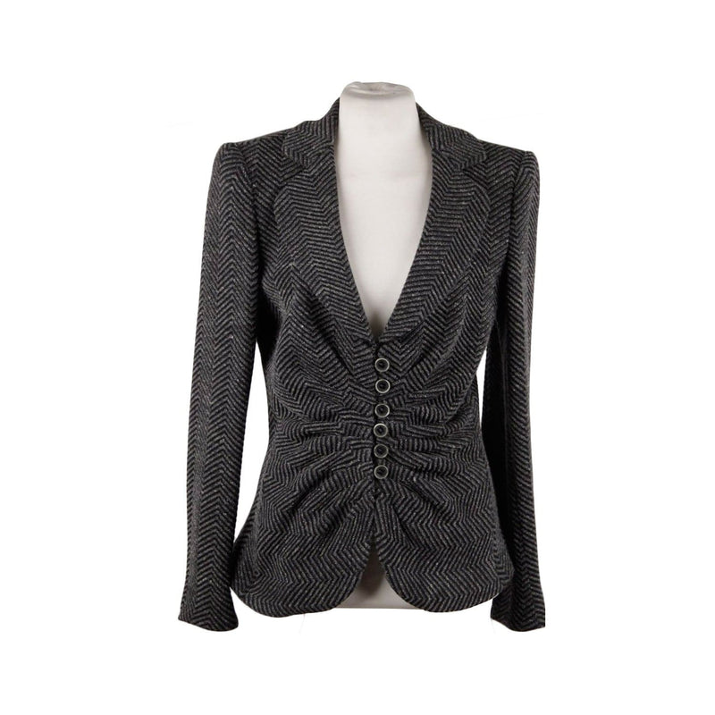 Armani Collezioni Gray Textured Wool Blend Blazer Jacket With Draping Size 44 Opherty & Ciocci