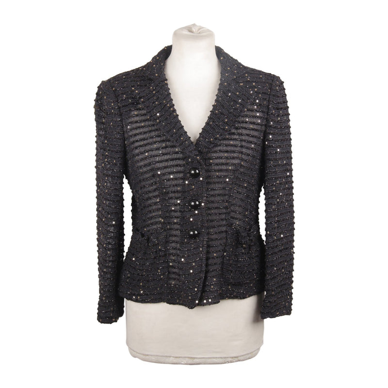 ARMANI COLLEZIONI Navy Blue Knitted BLAZER with Sequins Size 40