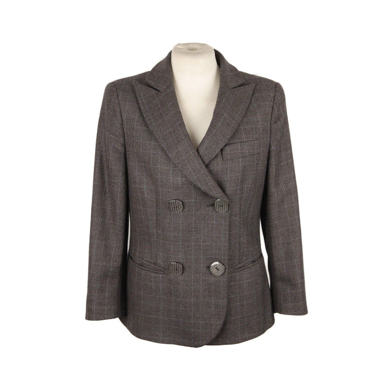 Giorgio Armani Black Label Gray Checkered Cashmere Blend Blazer Size 40 Opherty & Ciocci