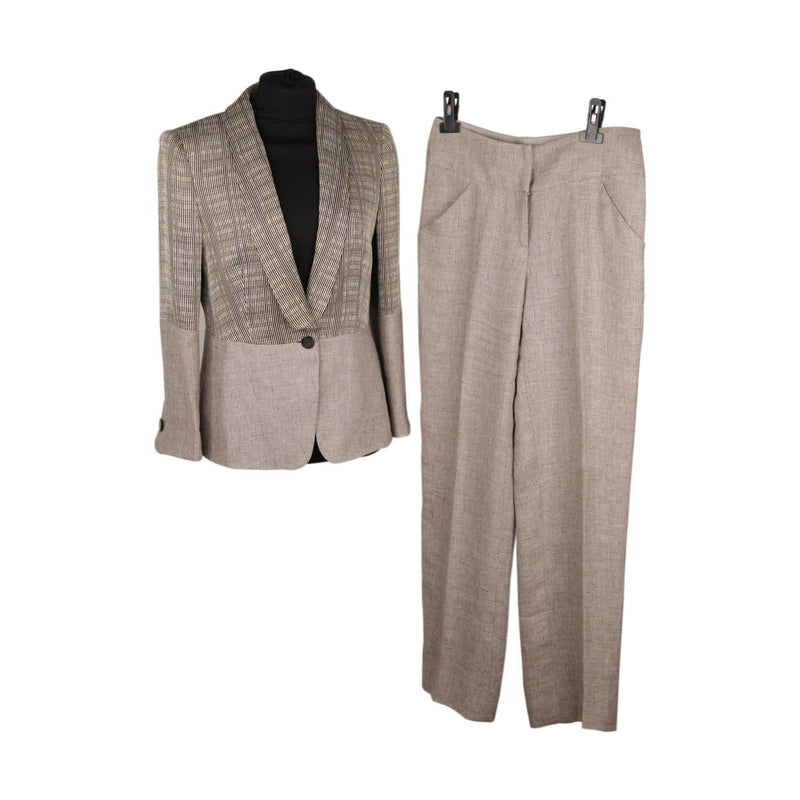 Giorgio Armani Black Label Gray Linen Panelled Pant Suit Size 40 Opherty & Ciocci