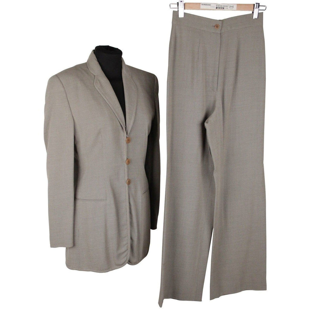 Giorgio Armani Black Label Gray Women Suit Blazer & Wide Leg Pants 38 Opherty & Ciocci