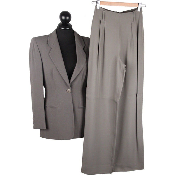 Giorgio Armani Black Label Gray Women Suit Blazer & Wide Trousers Xs Opherty & Ciocci