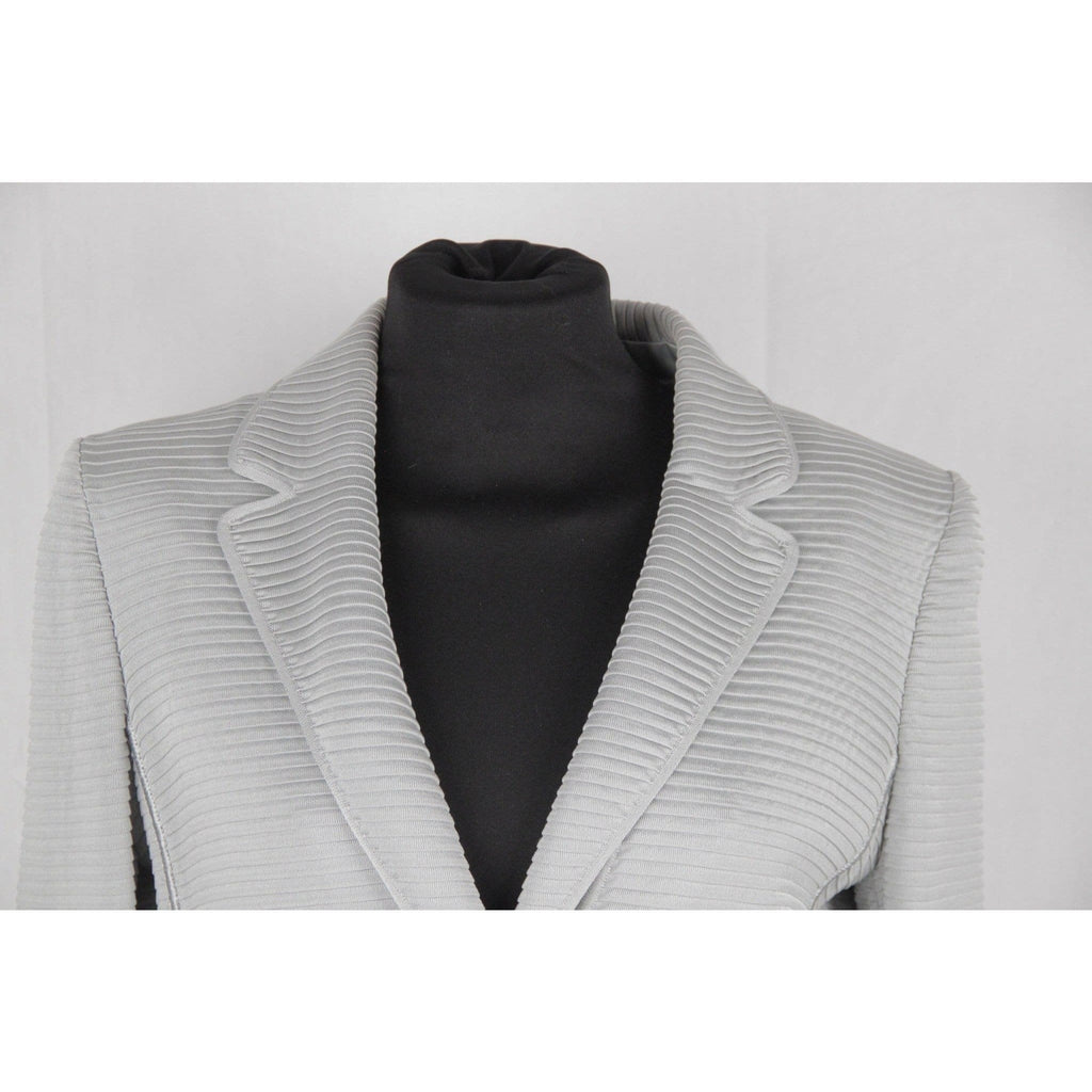 Giorgio Armani Black Label Light Gray Textured Blazer Jacket Size 42 It Opherty & Ciocci