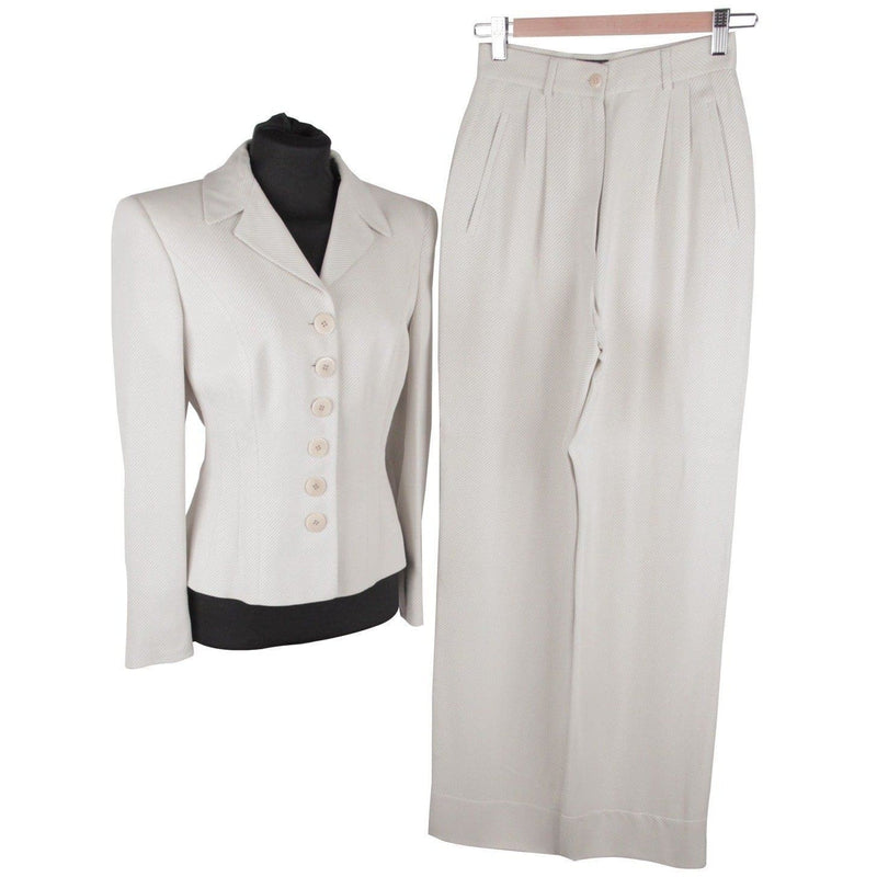 Giorgio Armani Black Label Light Gray Women Suit Blazer & Wide Leg Pants Opherty & Ciocci