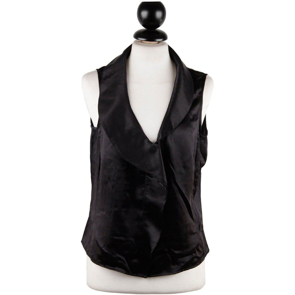 Giorgio Armani Black Silky Sleeveless Shirt Asymmetric Blouse Opherty & Ciocci