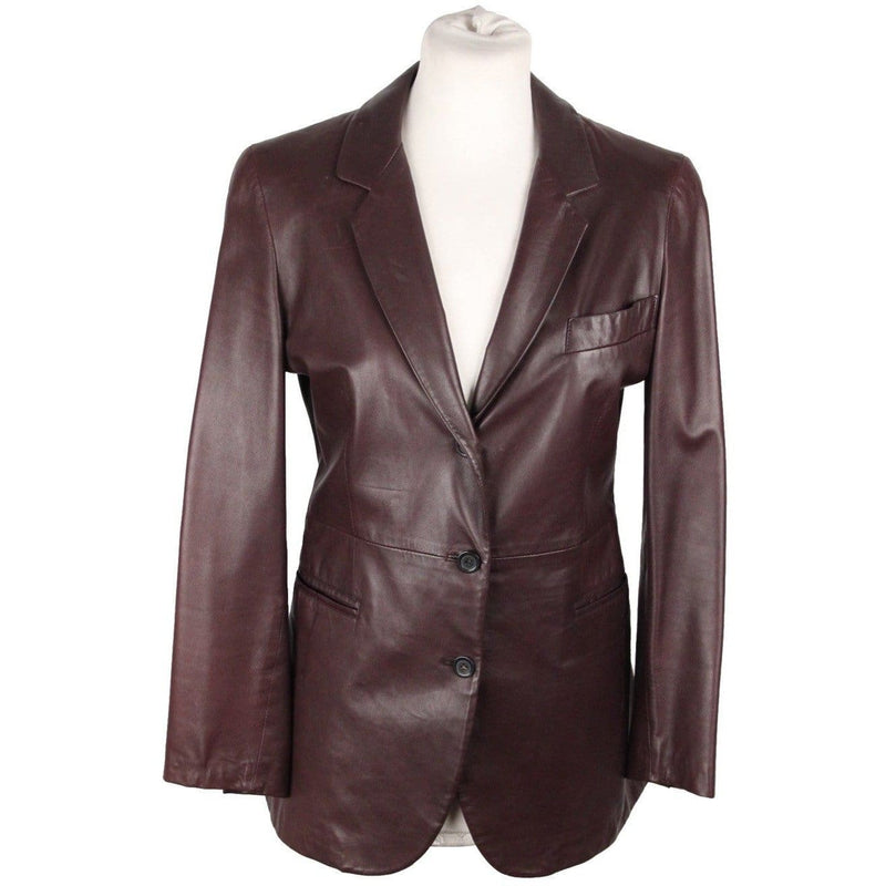 Giorgio Armani Classico Blue Label Brown Leather Jacket Blazer Opherty & Ciocci