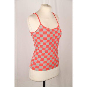 Giorgio Armani Gray And Red Checkered Cami Top Opherty & Ciocci