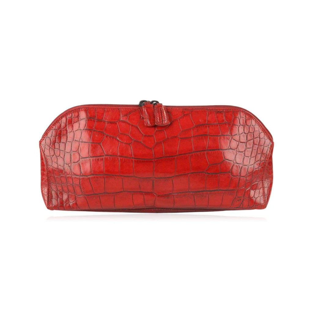 Vintage Embossed Croc Look Leather Clutch Handbag Opherty & Ciocci