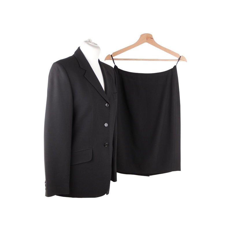 Aspesi Blu Black Wool Blend Suit Blazer Jacket And Pencil Skirt Set Sz 42 It Opherty & Ciocci