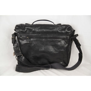 Aunts & Uncles Black Leather Messenger Bag Briefcase Opherty & Ciocci