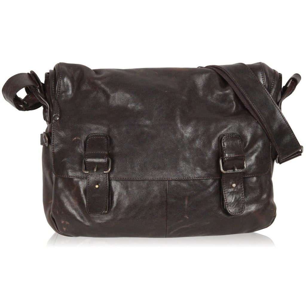 Aunts & Uncles Dark Brown Leather Messenger Bag Opherty & Ciocci