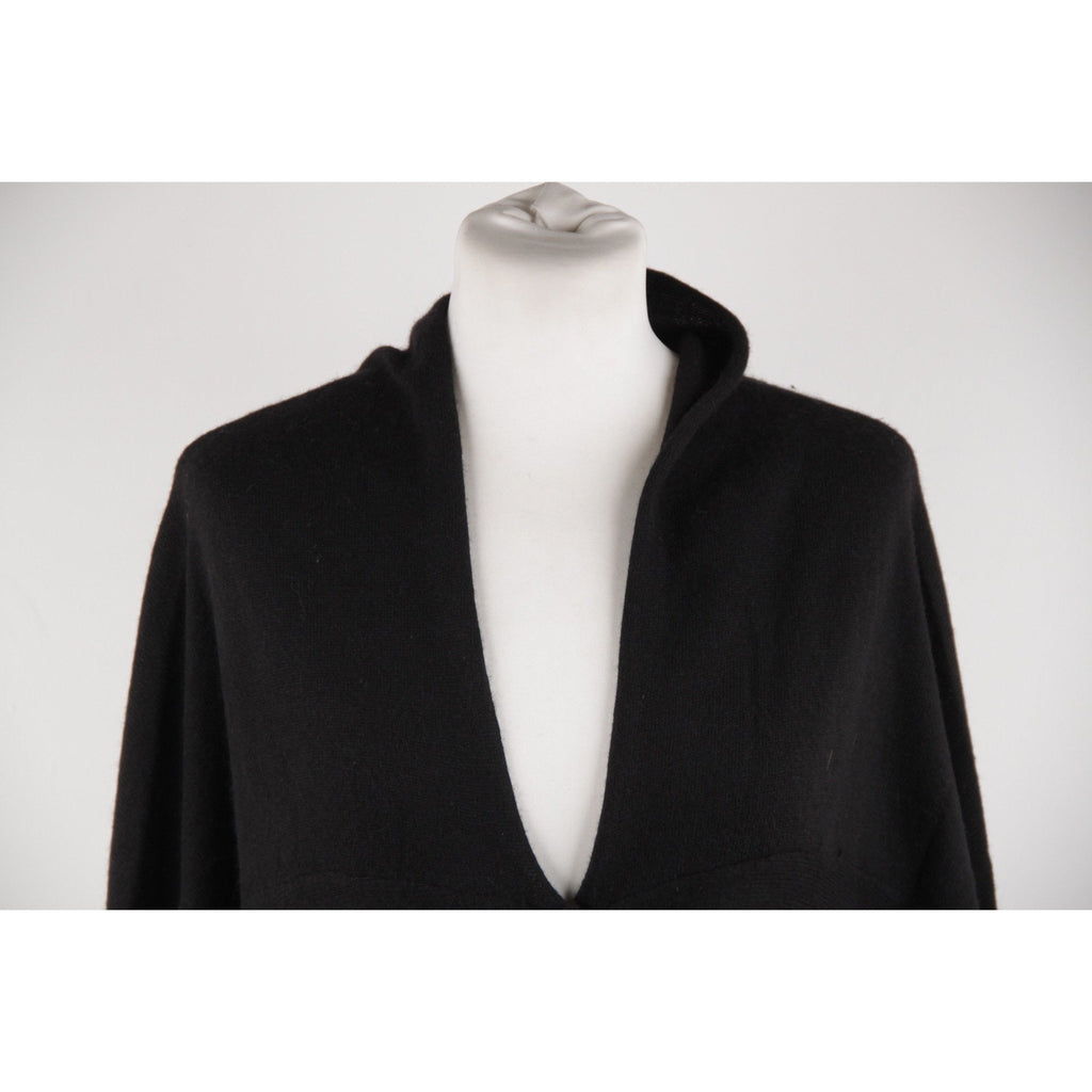 AVELON Black Merino Wool Knit OVERSIZED CARDIGAN Sweater SIZE S